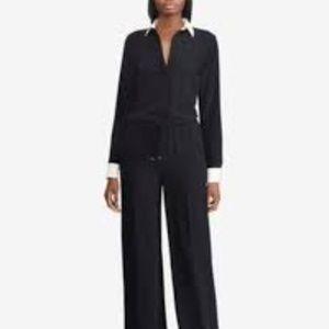 NWT! Ralph Lauren Long Sleeve Collared Jumpsuit Bl